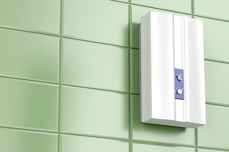 tankless water heater from boelcke on wall
